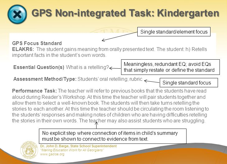 GPS Non-integrated Task: Kindergarten