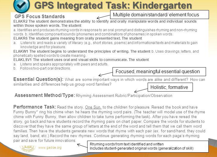 GPS Integrated Task: Kindergarten