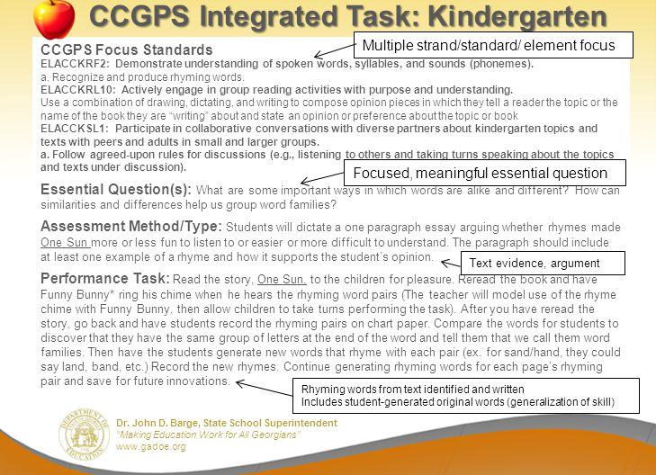 CCGPS Integrated Task: Kindergarten