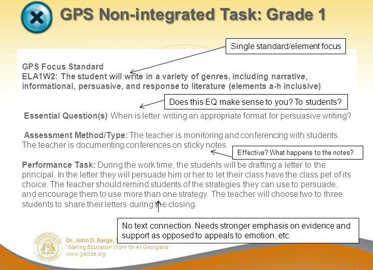 GPS Non-integrated Task: Grade 1