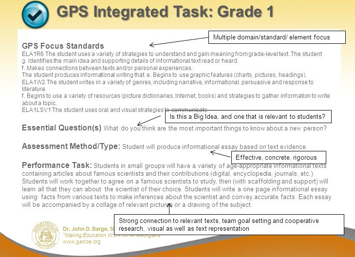 GPS Integrated Task: Grade 1