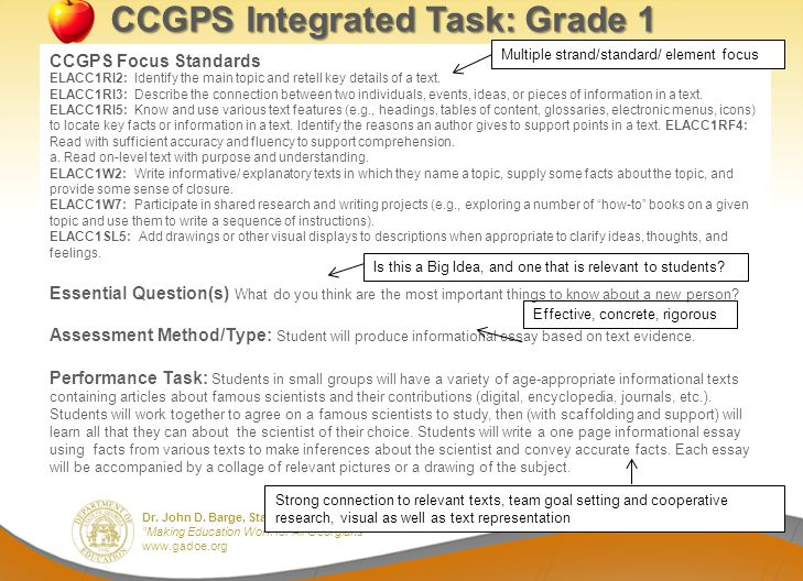 CCGPS Integrated Task: Grade 1
