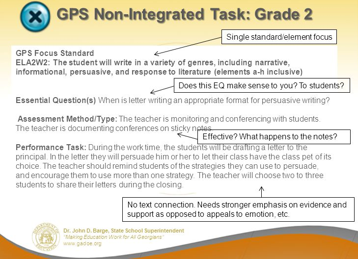 GPS Non-Integrated Task: Grade 2