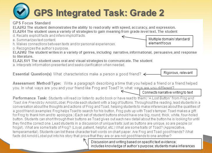 GPS Integrated Task: Grade 2