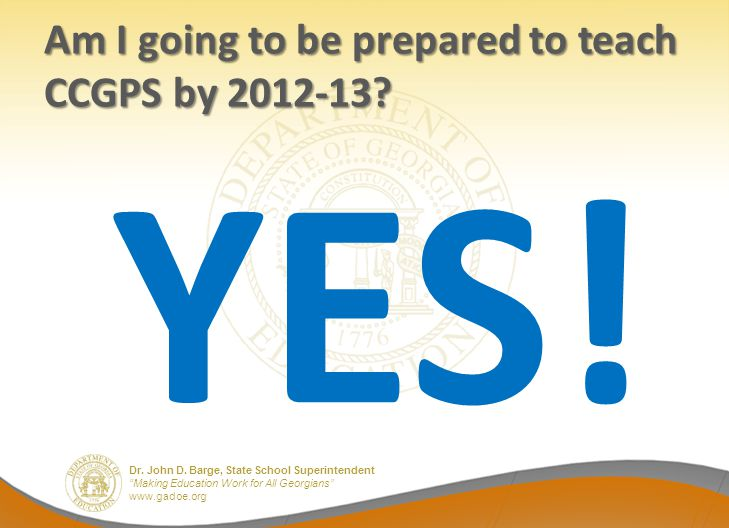 Am I going to be prepared to teach CCGPS by 2012-13