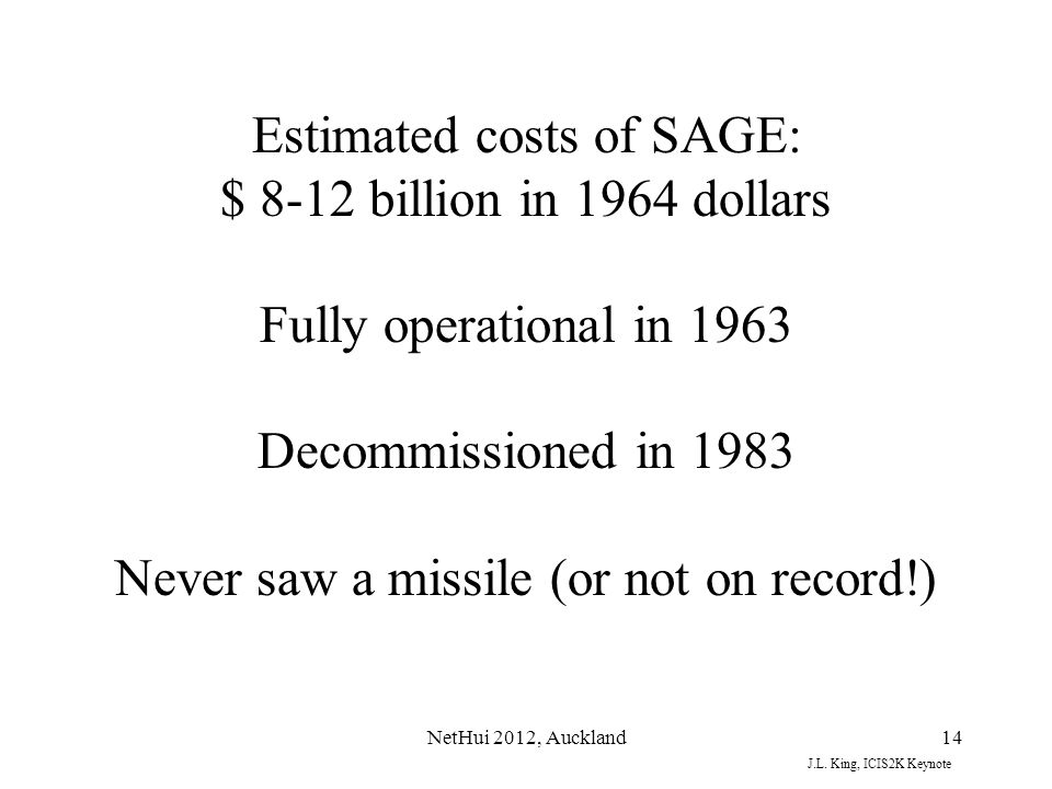 Estimated costs of SAGE: $ 8-12 billion in 1964 dollars