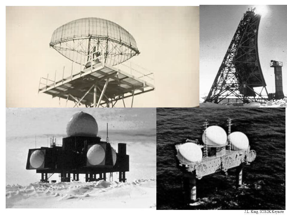 DETECTION WAS PROVIDED BY HARD SITE RADAR PLATFORMS ERECTED WHEREVER NEEDED, INCLUDING ON FROZEN TUNDRA AND AT SEA IN JACK-UP PLATFORMS CALLED TEXAS TOWERS -- SHOWN IN LOWER RIGHT