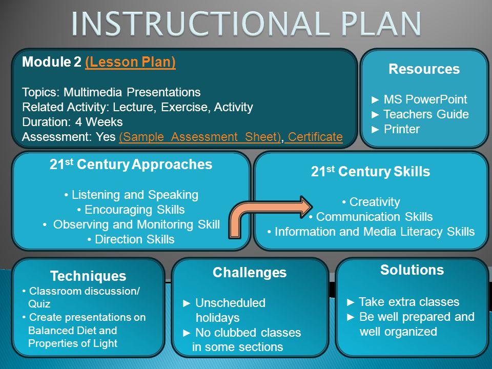 INSTRUCTIONAL PLAN Module 2 (Lesson Plan) Resources