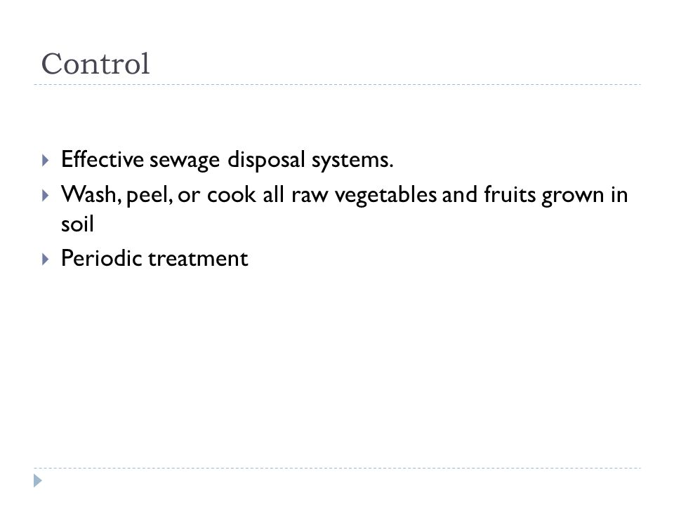 Control Effective sewage disposal systems.