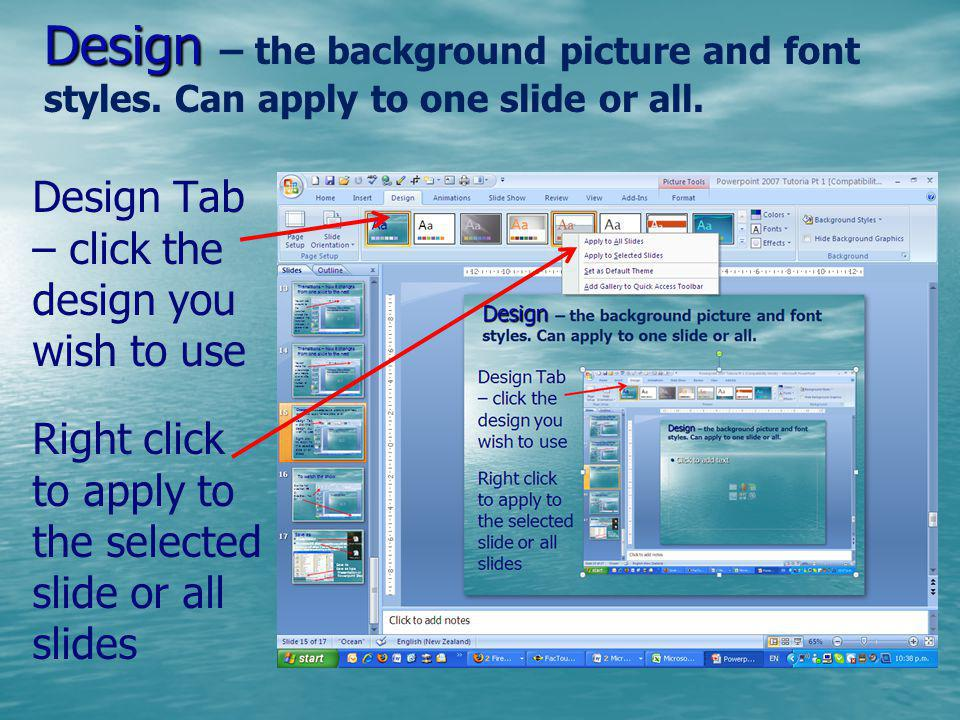 Design – the background picture and font styles