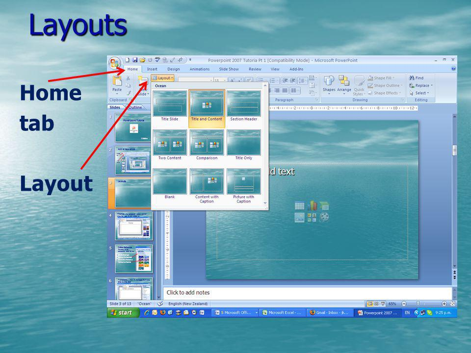 Layouts Home tab Layout
