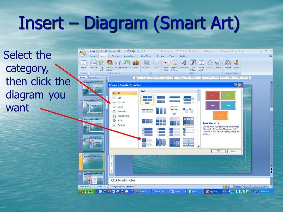 Insert – Diagram (Smart Art)