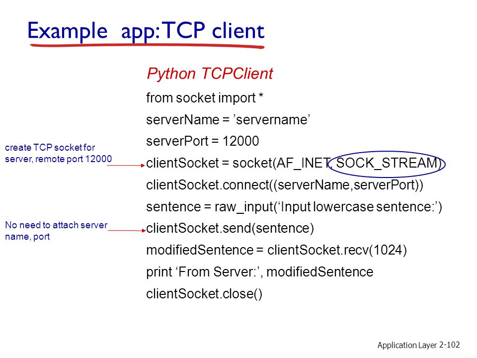 Example app: TCP client
