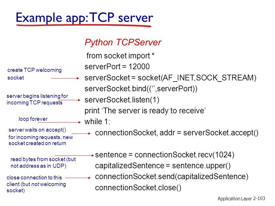 Example app: TCP server