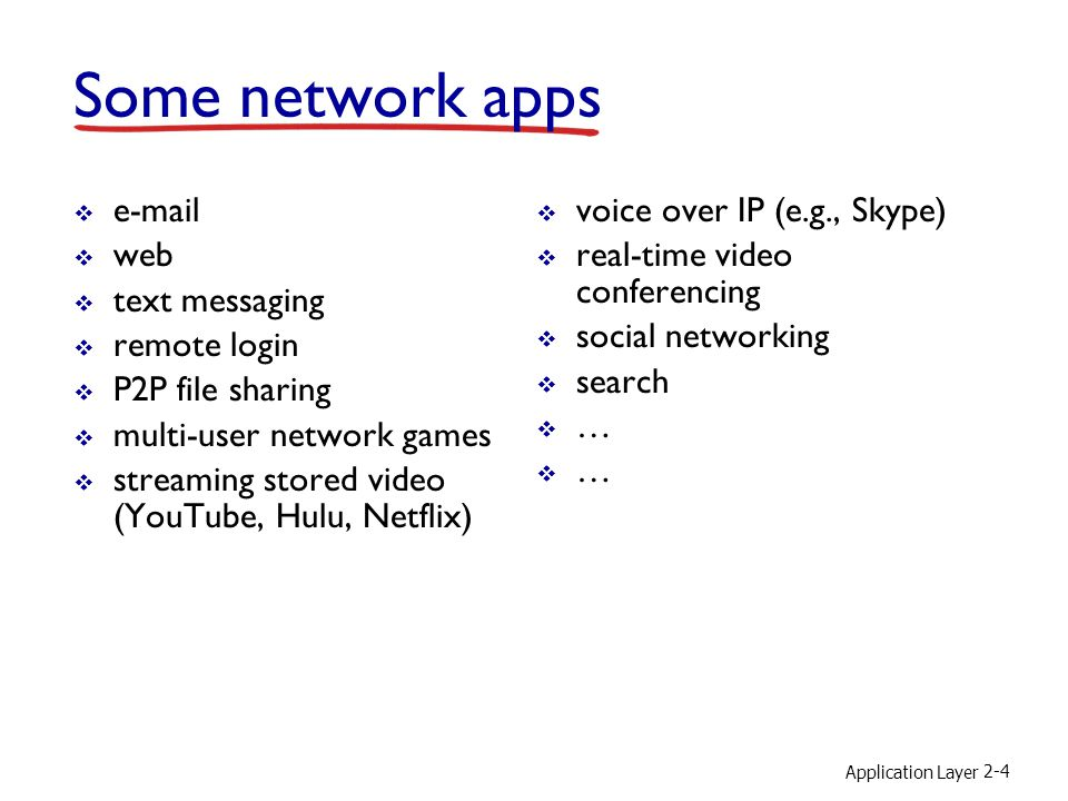Some network apps e-mail web text messaging remote login