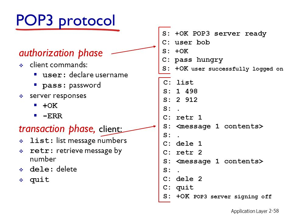 POP3 protocol authorization phase transaction phase, client: C: list