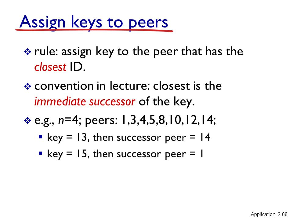 Assign keys to peers rule: assign key to the peer that has the closest ID. convention in lecture: closest is the immediate successor of the key.