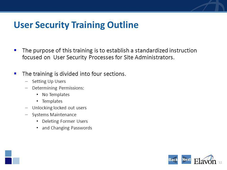 User Security Training Outline
