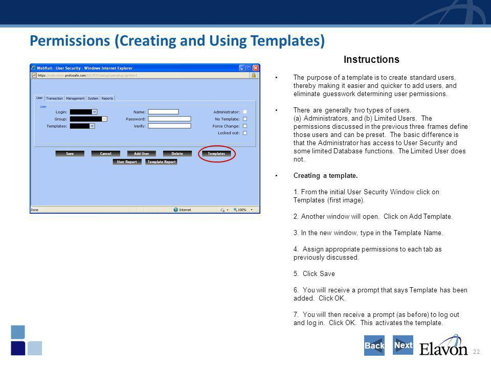 Permissions (Creating and Using Templates)