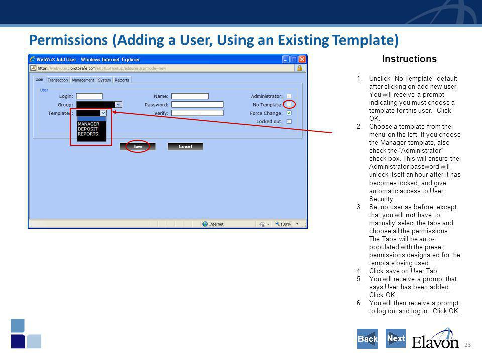 Permissions (Adding a User, Using an Existing Template)