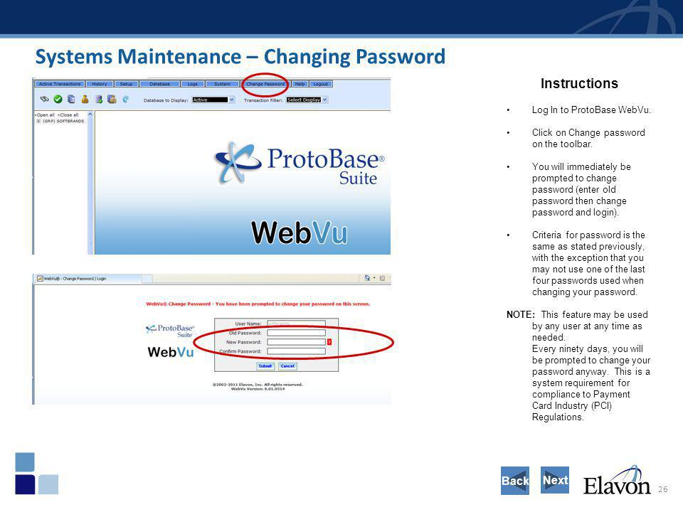 Systems Maintenance – Changing Password