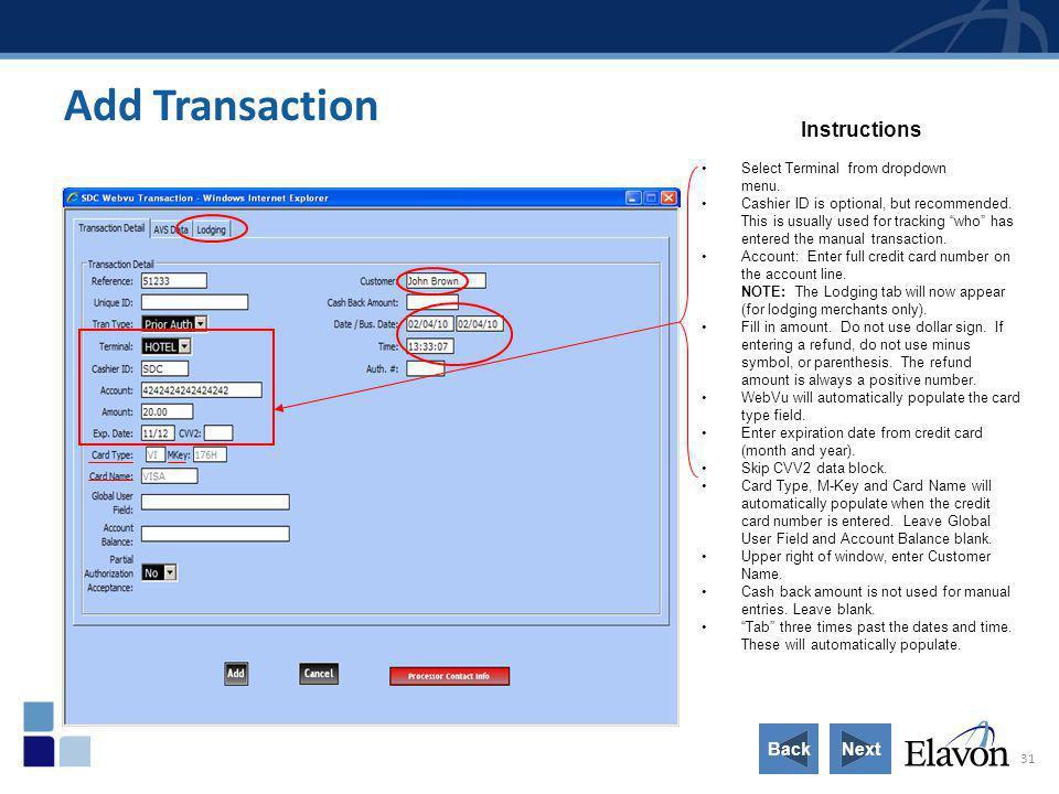 Add Transaction Instructions Back Next