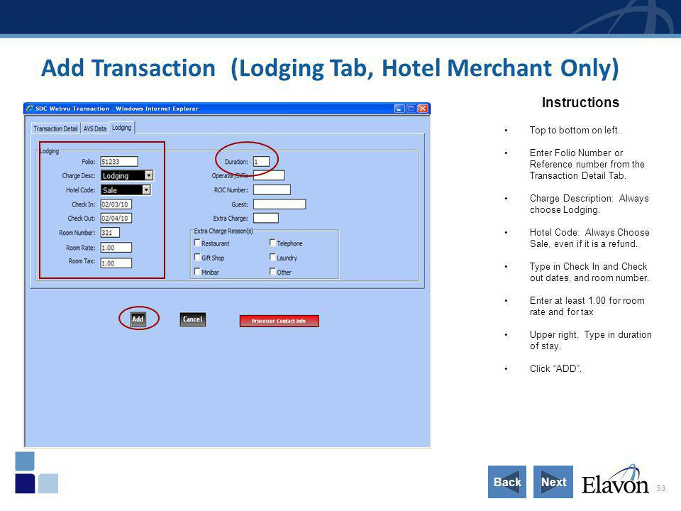 Add Transaction (Lodging Tab, Hotel Merchant Only)