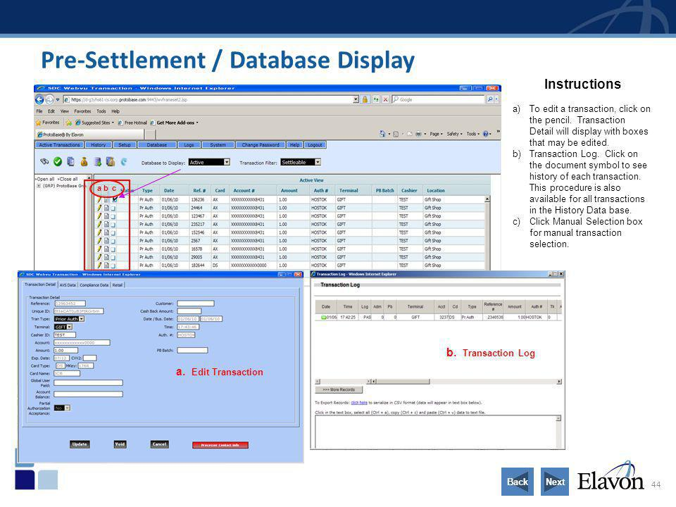 Pre-Settlement / Database Display