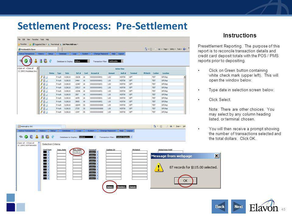Settlement Process: Pre-Settlement