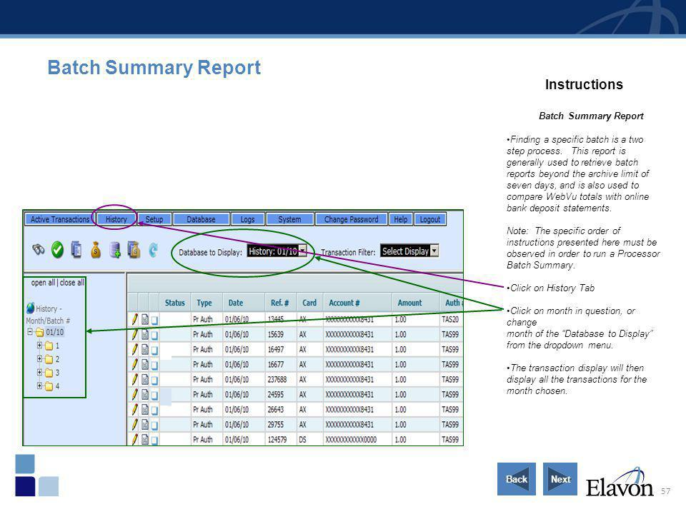 Batch Summary Report Instructions Batch Summary Report