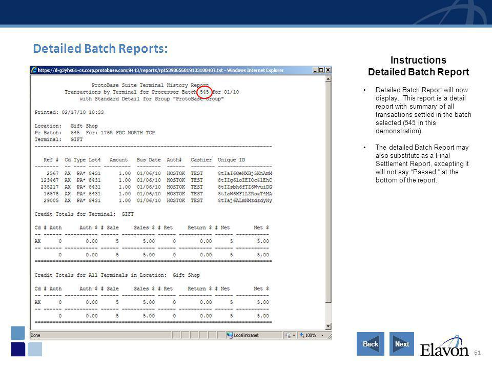 Detailed Batch Reports: