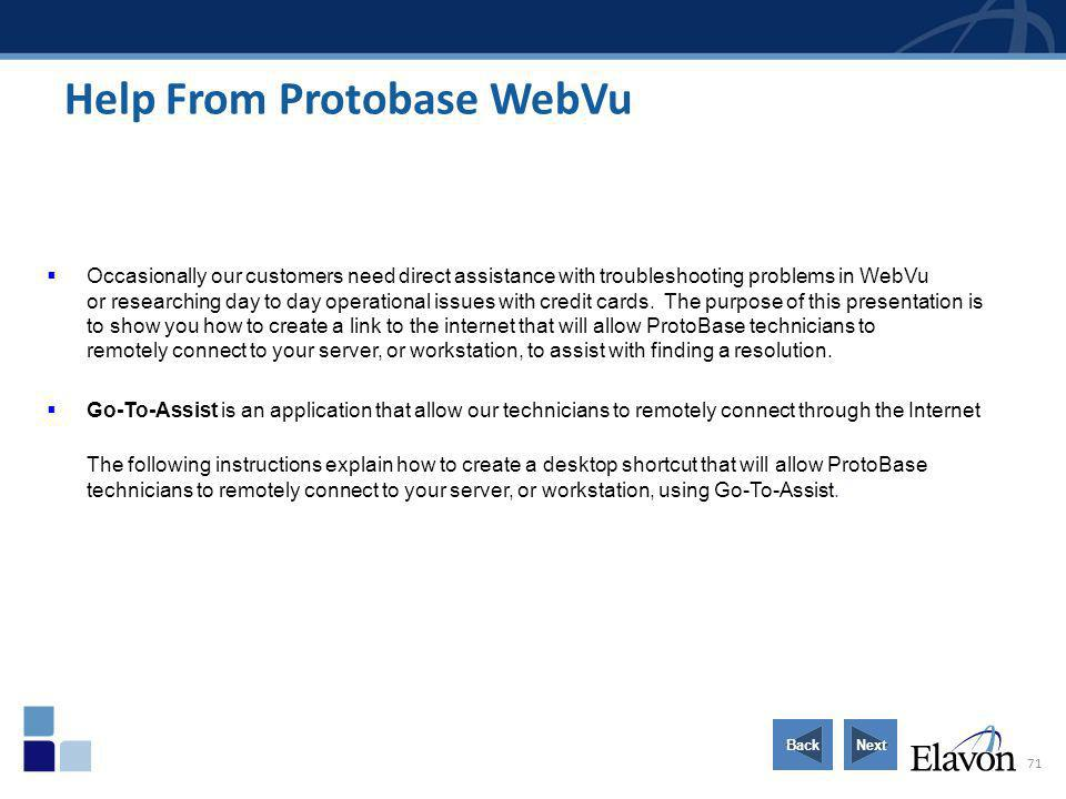 Help From Protobase WebVu