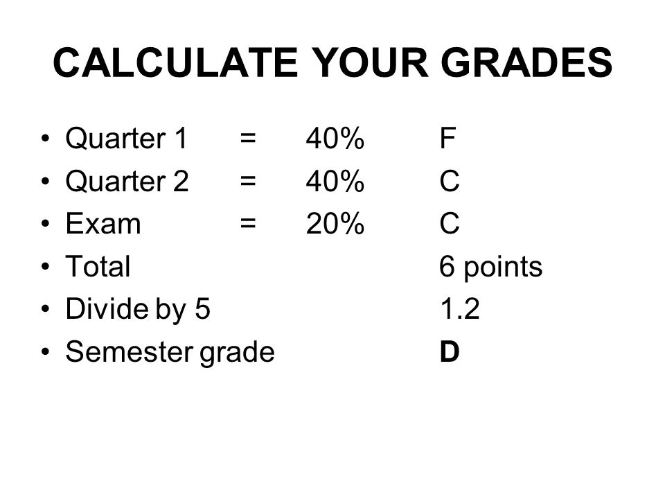 CALCULATE YOUR GRADES Quarter 1 = 40% F Quarter 2 = 40% C Exam = 20% C