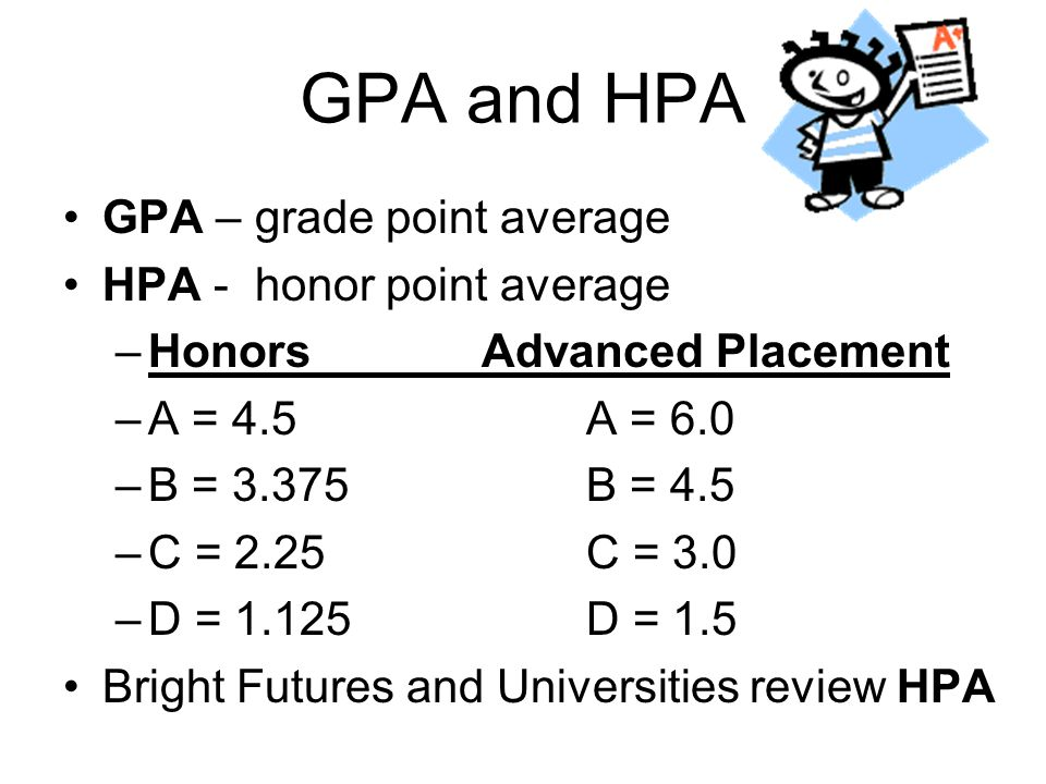 GPA and HPA GPA – grade point average HPA - honor point average