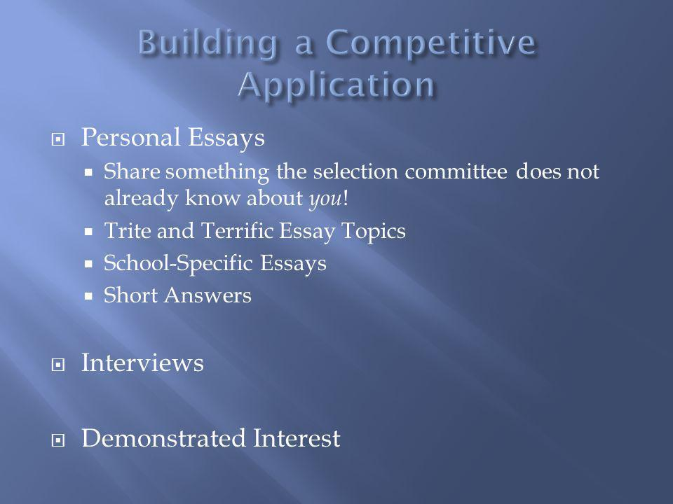 Building a Competitive Application