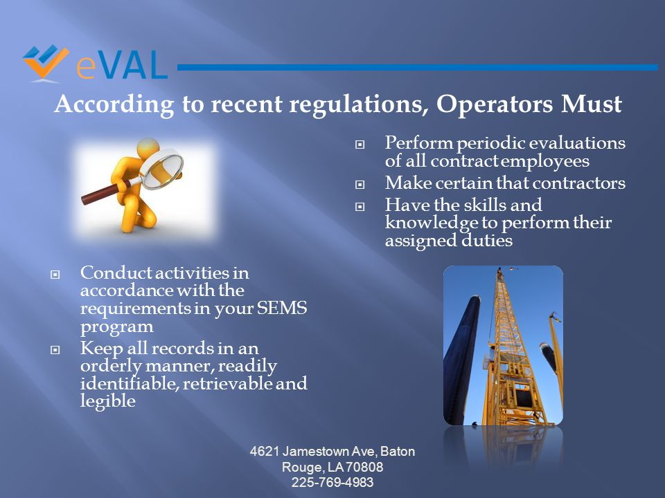 According to recent regulations, Operators Must