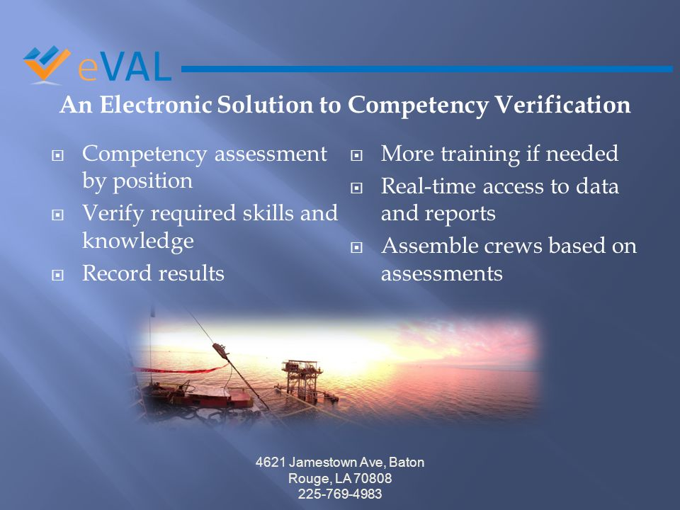 An Electronic Solution to Competency Verification