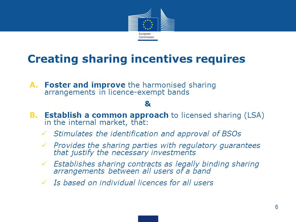 Creating sharing incentives requires