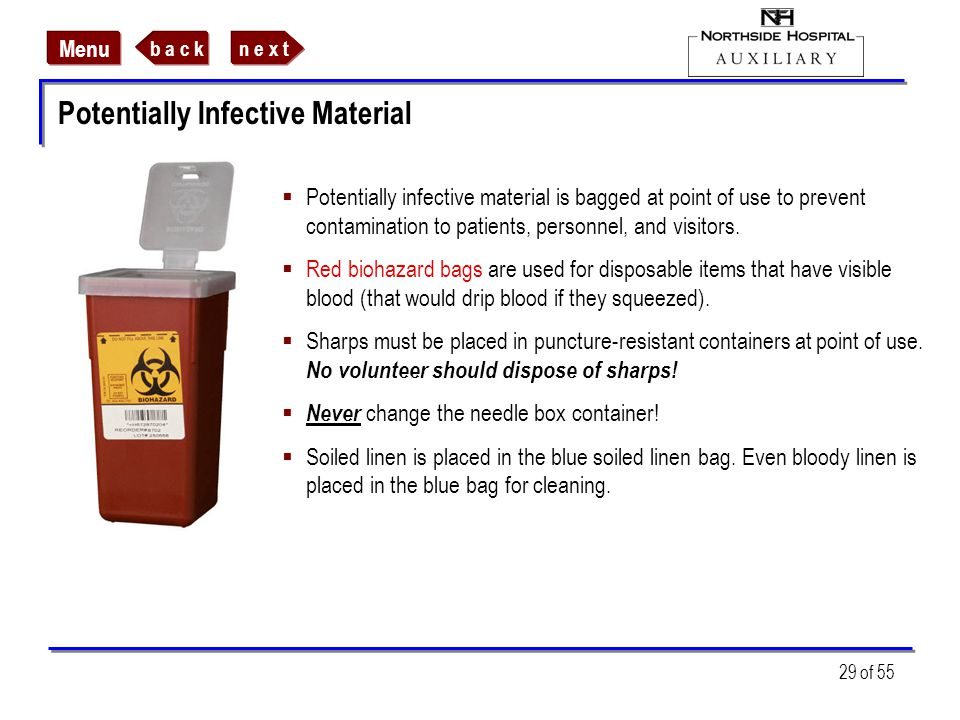 Potentially Infective Material