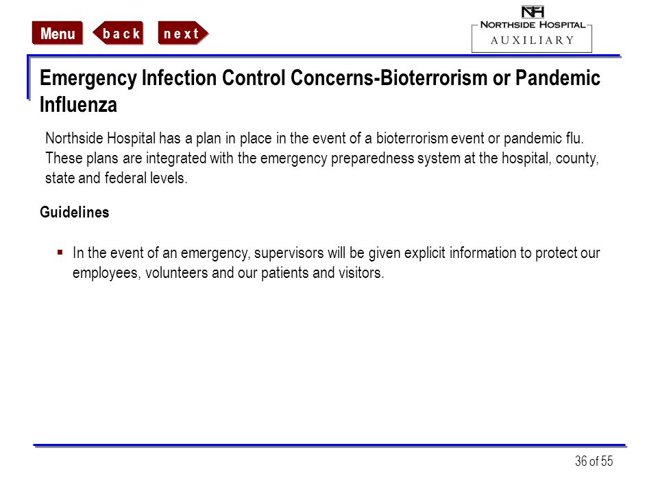 Emergency Infection Control Concerns-Bioterrorism or Pandemic Influenza