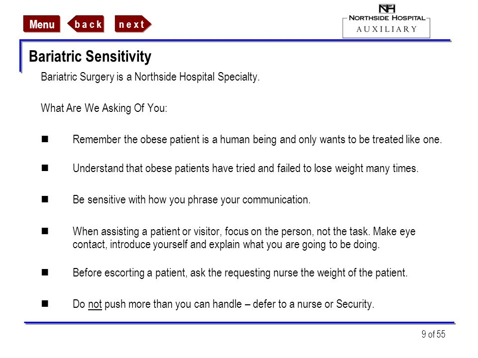 Bariatric Sensitivity