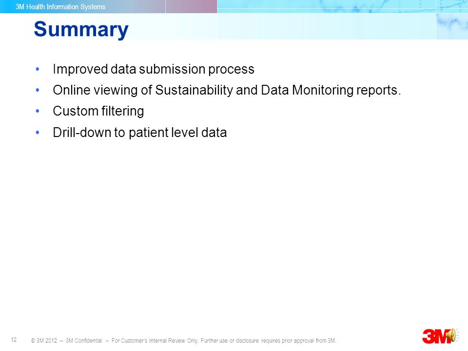 Summary Improved data submission process