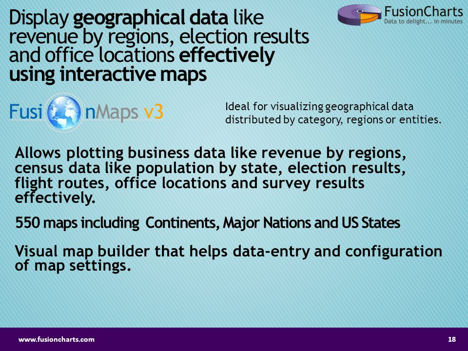 Display geographical data like revenue by regions, election results and office locations effectively using interactive maps