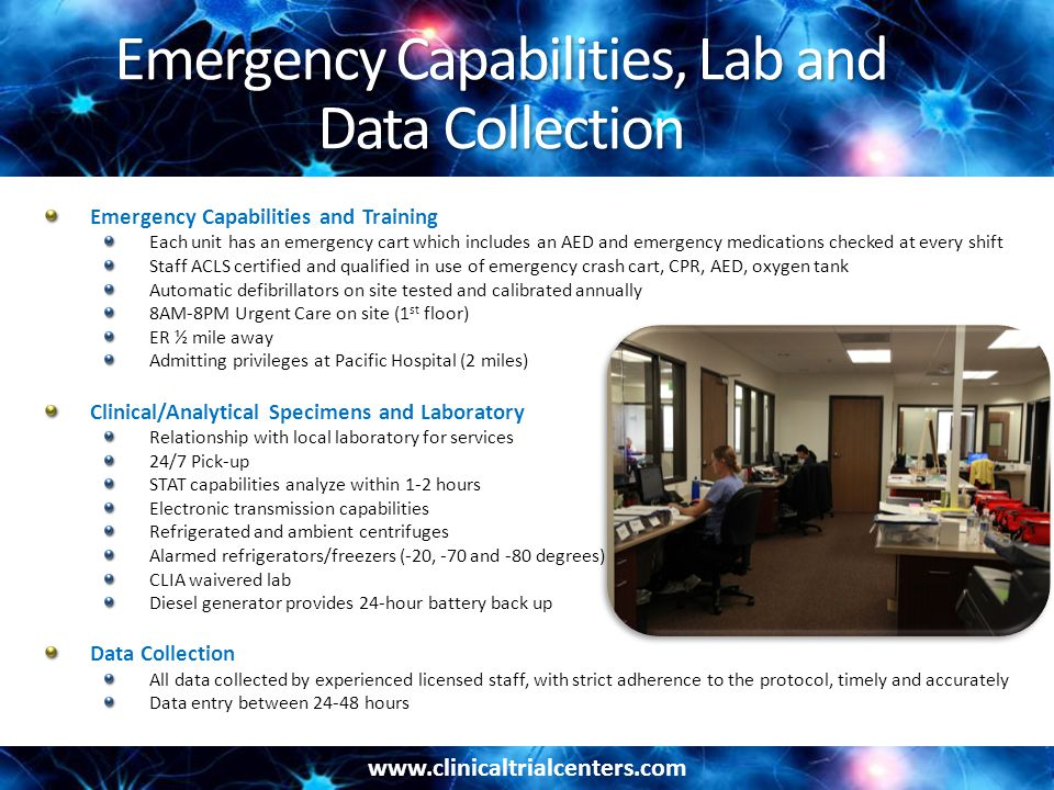 Emergency Capabilities, Lab and Data Collection
