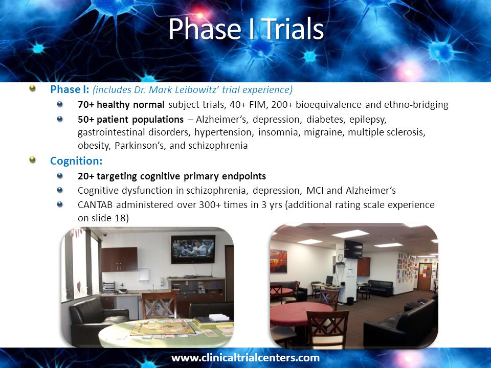 Phase I Trials Phase I: (includes Dr. Mark Leibowitz' trial experience)