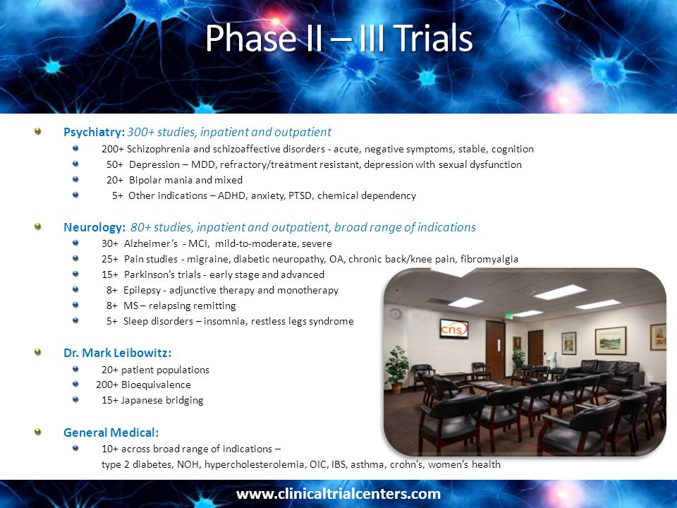 Phase II – III Trials Psychiatry: 300+ studies, inpatient and outpatient.