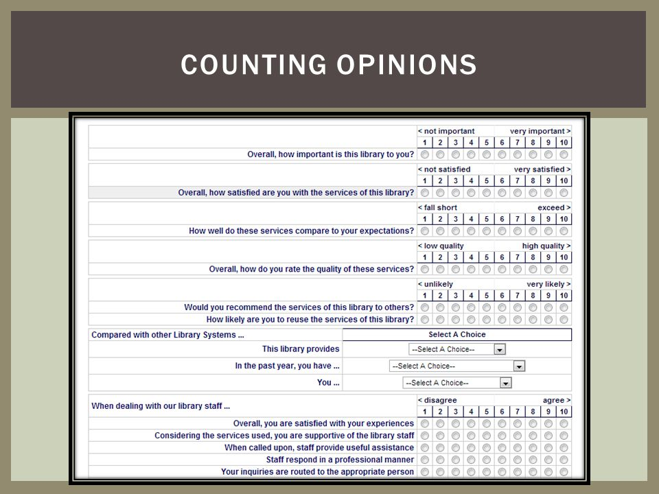 Counting opinions Some survey instruments are already made for you– this is a satisfaction survey that runs on our website all the time.