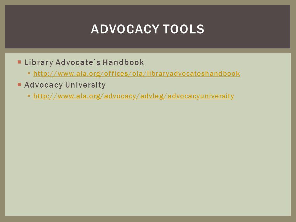 Advocacy tools Library Advocate's Handbook Advocacy University