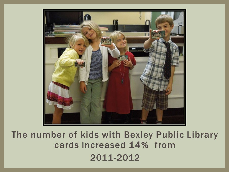 The number of kids with Bexley Public Library cards increased 14% from