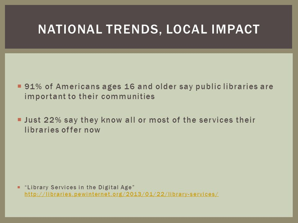 National trends, local impact